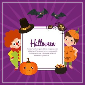 Texte carré de costume d'enfants halloween citrouille