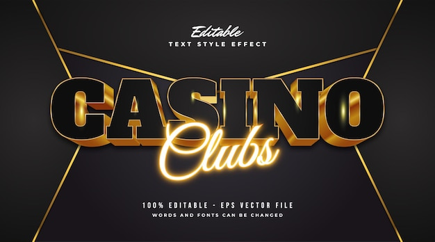 Texte de casino noir et or de luxe avec effet en relief et néon. effet de style de texte modifiable