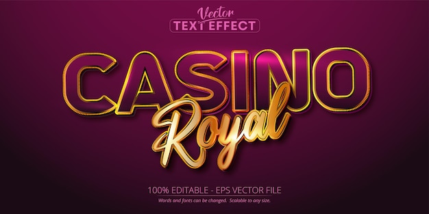 Texte de casino royal, effet de texte modifiable de style de couleur or et violet brillant