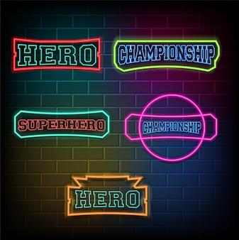 Texte de championnat de héros de lumière au néon sur mur de briques.