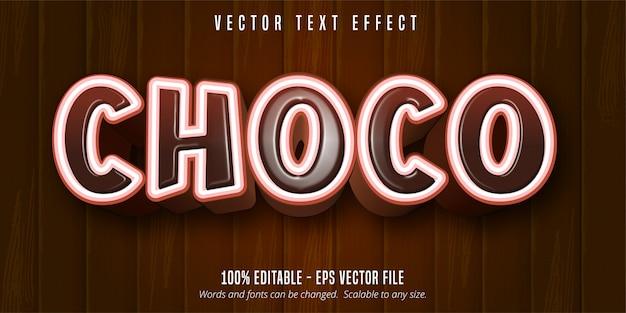 Texte choco, effet de texte modifiable de style dessin animé sur fond en bois