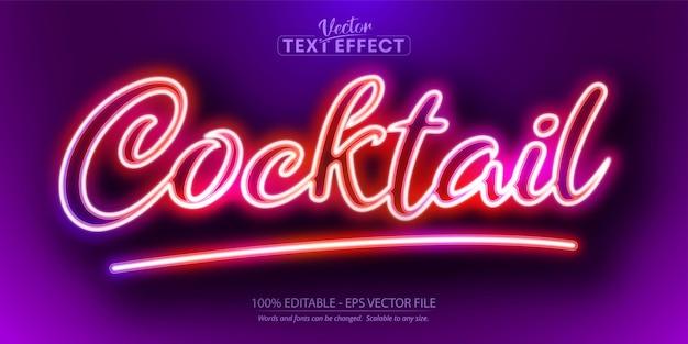 Texte de cocktail, effet de texte modifiable de style néon