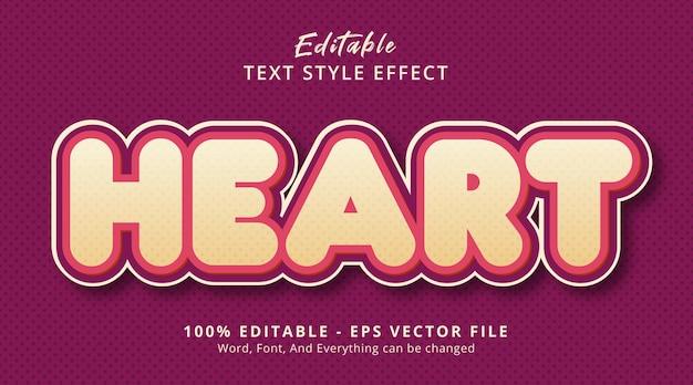 Texte de coeur sur le style de modèle de titre, effet de texte modifiable