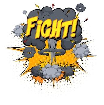 Texte de combat sur l'explosion de nuage comique isolé sur fond blanc