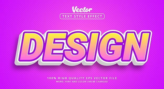 Texte de conception avec style de combinaison de couleurs rose clair, effet de texte modifiable