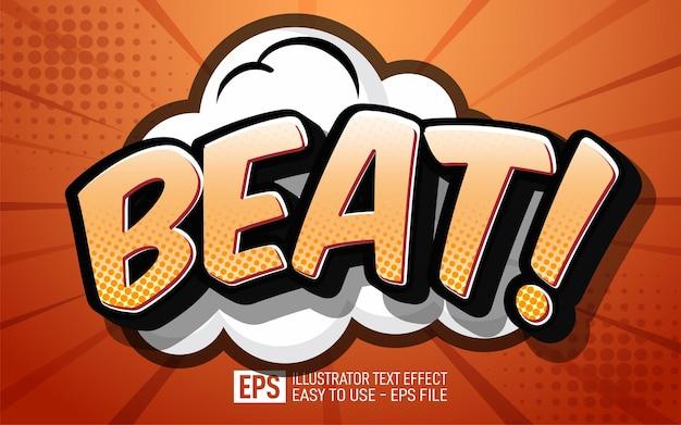 Texte créatif 3d beat modèle d'effet de style modifiable