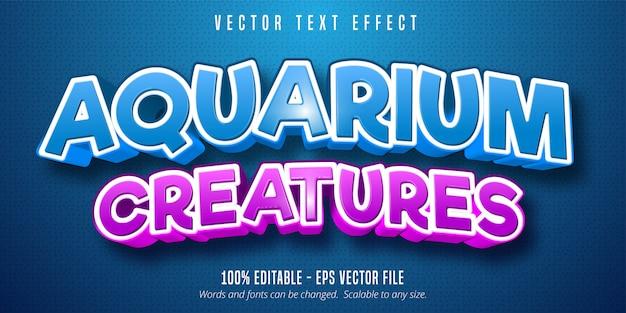 Texte de créatures d'aquarium, sous l'effet de texte modifiable de style mer