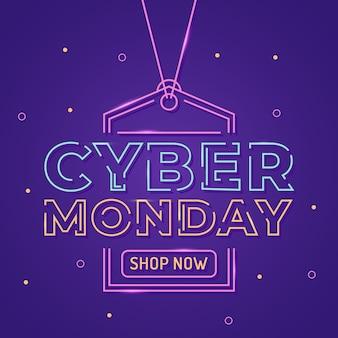 Texte cyber lundi à l'intérieur de l'étiquette de prix