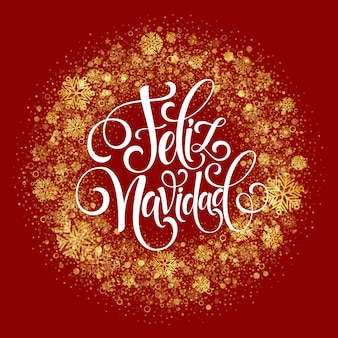 Texte de décoration lettrage main feliz navidad pour modèle de carte de voeux