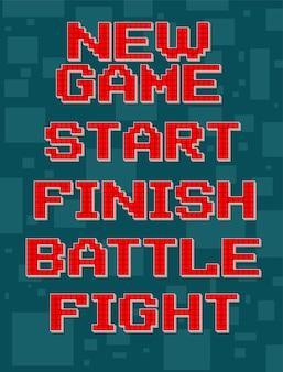 Texte différent rétro pixel rouge pour jeu vidéo