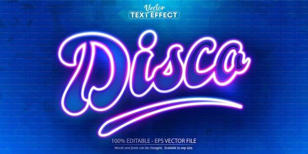 Texte disco, effet de texte modifiable de style néon