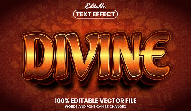 Texte divin, effet de texte modifiable de style de police