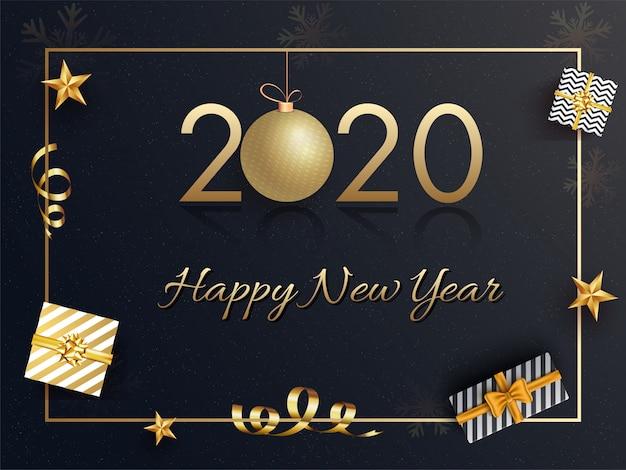 Texte doré 2020 avec boîtes à cadeaux suspendues boule et vue de dessus décorées sur fond noir pour la fête de bonne année