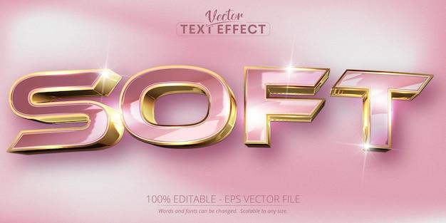 Texte doux, effet de texte modifiable de style or rose et doré brillant