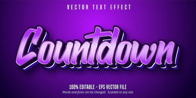 Texte du compte à rebours, effet de texte modifiable de style pop art de couleur violette