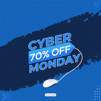 Texte du cyber monday avec 70% de réduction sur l'étiquette