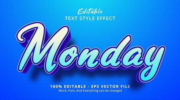 Texte du lundi sur le style de l'événement de titre, effet de texte modifiable