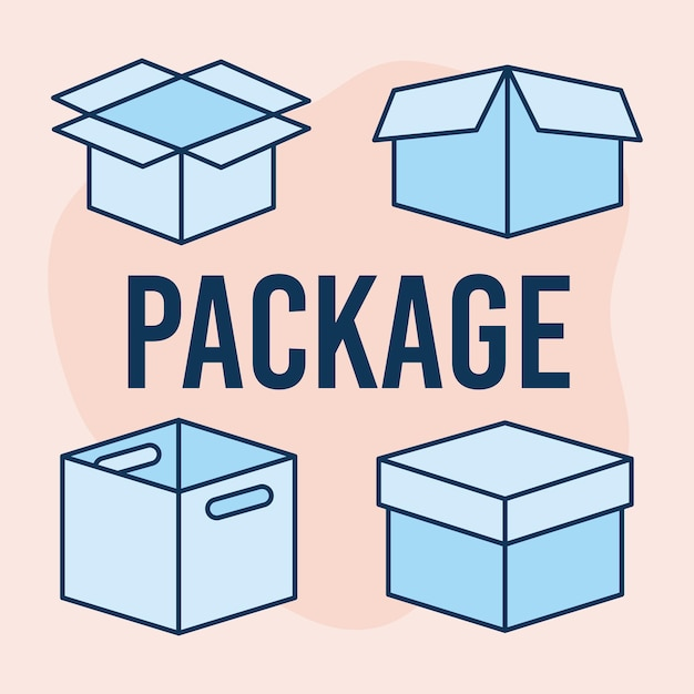 Texte du paquet et ensemble d'icônes de boîtes