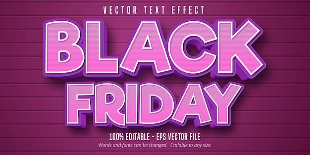 Texte du vendredi noir, effet de texte modifiable de style dessin animé