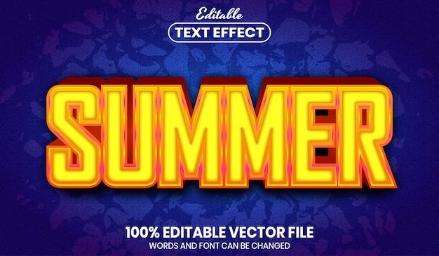 Texte d'été, effet de texte modifiable de style de police