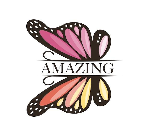 Texte étonnant et conception d'illustration vectorielle papillon rose pour les impressions de t-shirt graphiques de mode