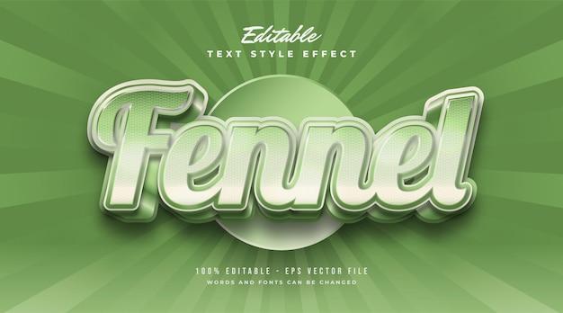 Texte de fenouil audacieux en couleur verte avec texture et effet en relief