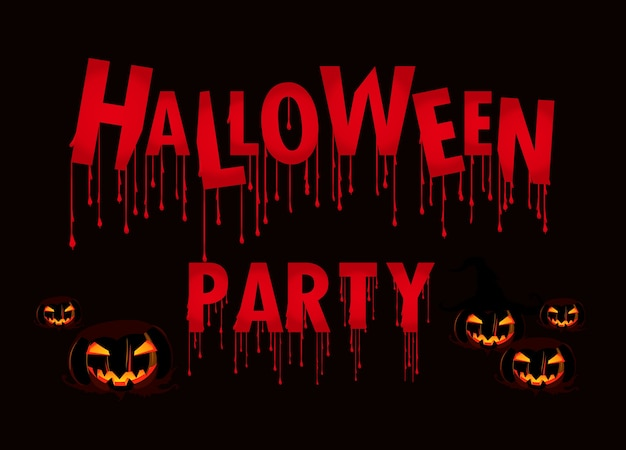 Texte de fête d'halloween sur fond noir avec citrouille