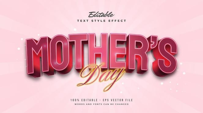 Texte de la fête des mères en effet rouge et lumineux. effet de style de texte modifiable
