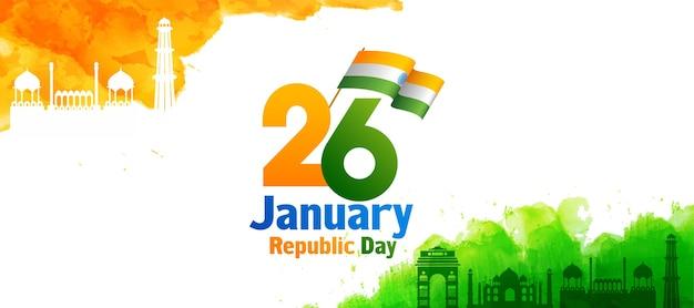 Texte de la fête de la république avec drapeau indien, safran et effet aquarelle vert inde monuments célèbres sur fond blanc.