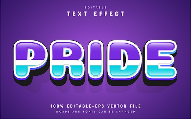 Texte de fierté, effet de texte de style dessin animé