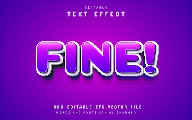 Texte fin, effet de texte de dessin animé violet