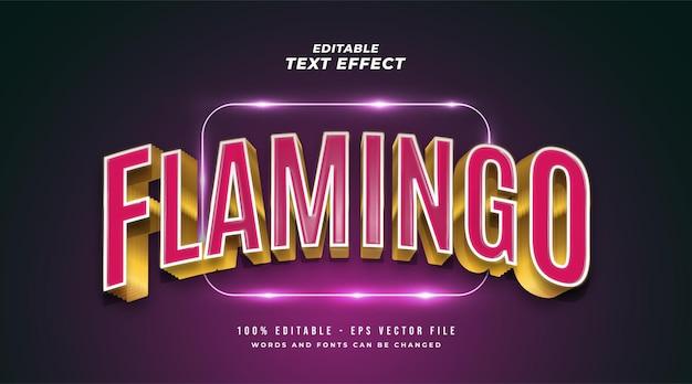 Texte flamingo en rose et or avec effet 3d en relief et incurvé. effet de style de texte modifiable