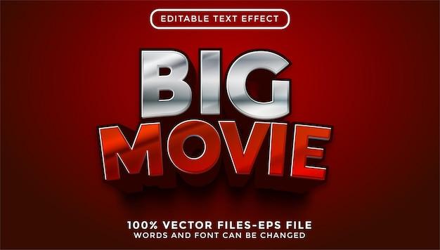 Texte de grand film en 3d. vecteurs premium d'effet de texte modifiable