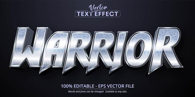 Texte de guerrier, effet de texte modifiable de style argent brillant
