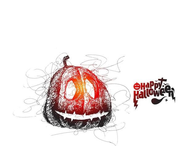 Texte d'halloween heureux avec la conception de vecteur de croquis dessinés à la main de citrouille.