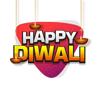 Texte happy diwali avec lampes à huile pendantes (diya).