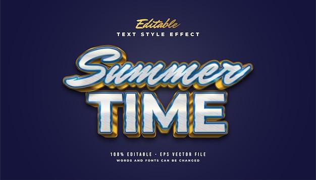 Texte de l'heure d'été en bleu et or avec style vintage et effet en relief