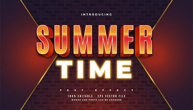 Texte de l'heure d'été en dégradé orange gras et effet néon brillant