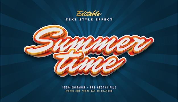 Texte de l'heure d'été avec un style vintage en blanc et orange
