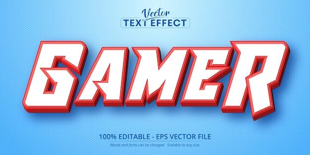 Texte de joueur, effet de texte modifiable de style dessin animé