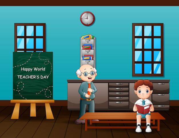 Texte de la journée des enseignants heureux sur tableau noir avec un ancien enseignant et un garçon