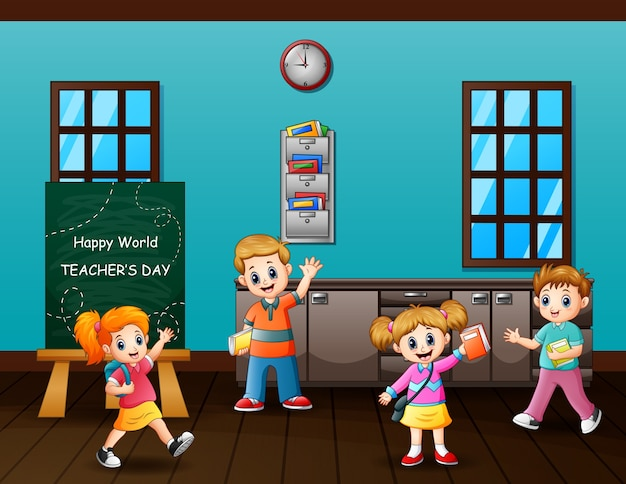 Texte de la journée des enseignants heureux sur tableau noir avec des étudiants heureux