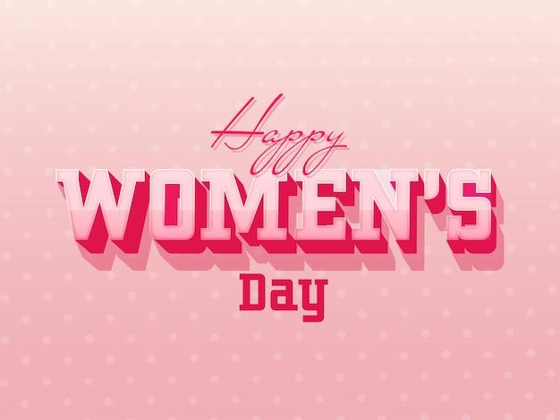 Texte de la journée de la femme heureuse sur la carte de voeux en pointillé rose brillant