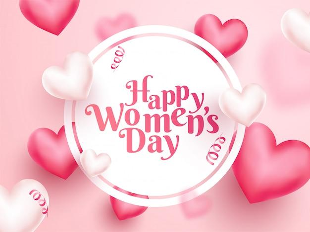 Texte de la journée de la femme heureuse dans un cadre circulaire avec des coeurs 3d décorés sur fond rose.