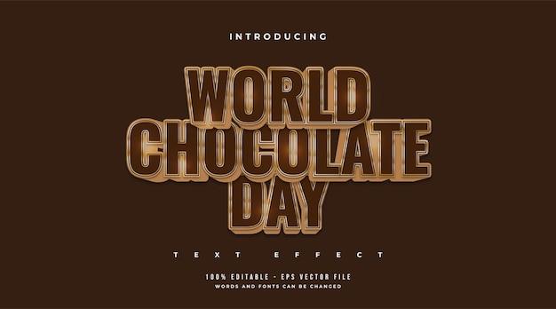 Texte de la journée mondiale du chocolat en or et chocolat avec effet en relief