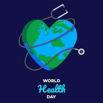 Texte de la journée mondiale de la santé avec un fond blanc graphique desidn