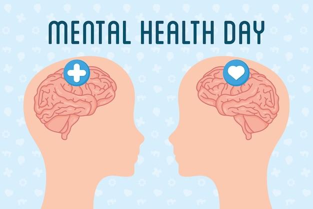 Texte de la journée de la santé mentale avec cerveaux dans les profils de la tête
