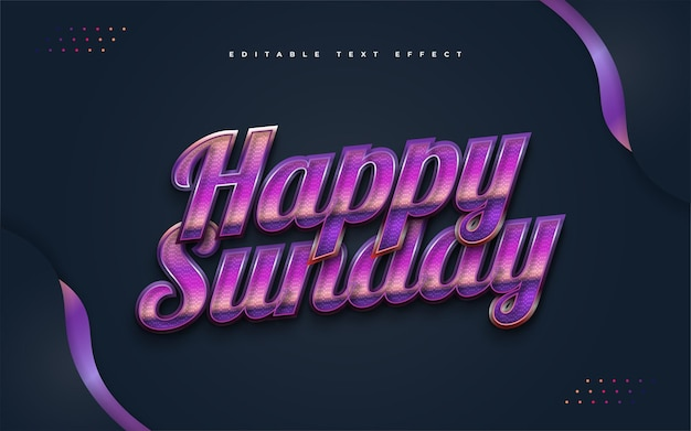 Texte joyeux dimanche dans un style rétro coloré avec effet en relief. effet de style de texte modifiable