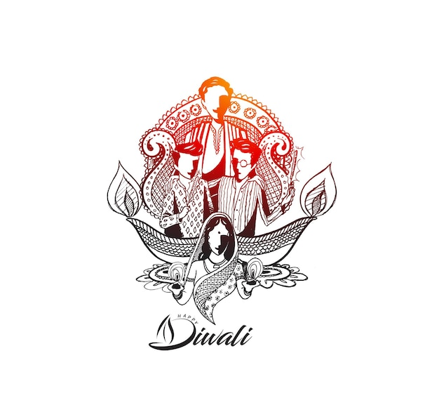 Texte joyeux de diwali avec un arrière-plan créatif de famille heureuse pour le festival de diwali.