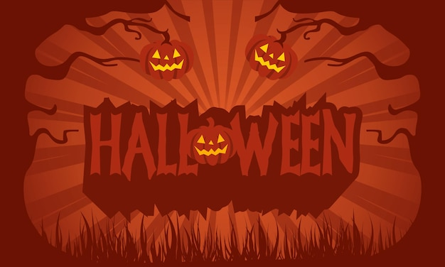 Texte joyeux halloween avec des citrouilles